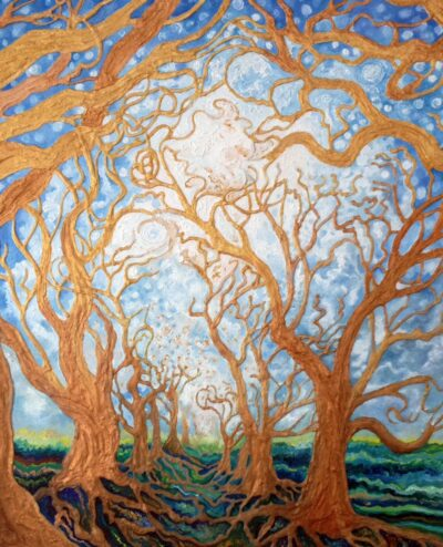 """""""Celestial Trees"""" - Oil and mixed media on canvas - 60x50cm - For Sale - £250"""