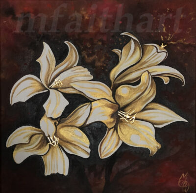 """""""Golden Lilies"""" - 2020 - Oil on canvas with gold leaf - 40x40cm - For Sale - £150"""