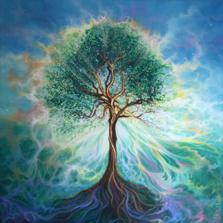 """Harmonious Tree"" - 2020 - Oil and gold leaf on canvas - 100x100cm - For Sale - £895"