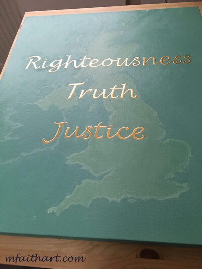 """""""Righteousness, Truth, Justice"""" - Oil and 23.75kt gold leaf on canvas - 20x24"""" - Private commission"""