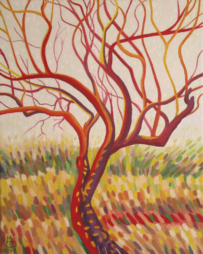 """""""Praise Tree in Red"""" - 2005 - 41x30cm - Oil on canvas - For Sale - £150"""