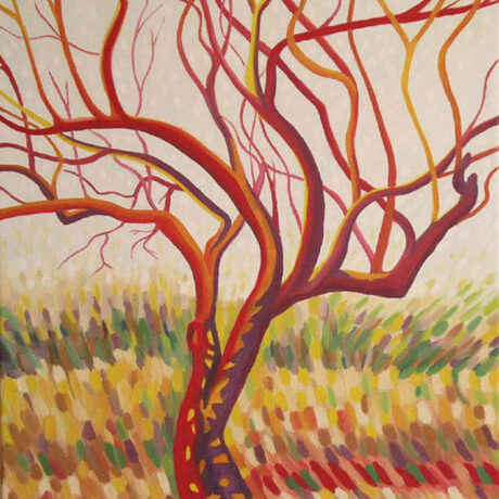 """Praise Tree in Red"" - 2005 - 41x30cm - Oil on canvas - For Sale - £150"