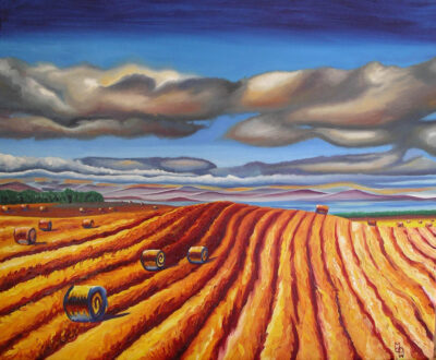 """""""Rolling Field"""" - 2007 - Oil on canvas - Framed in brown wood - 55x65cm - For Sale - £295"""