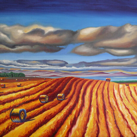 """Rolling Field"" - 2007 - Oil on canvas - Framed in brown wood - 55x65cm - For Sale - £295"