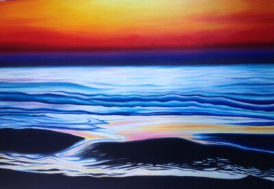 """""""Sunset Waves"""" - 2015 - 100x80cm - Oil on canvas - Sold"""