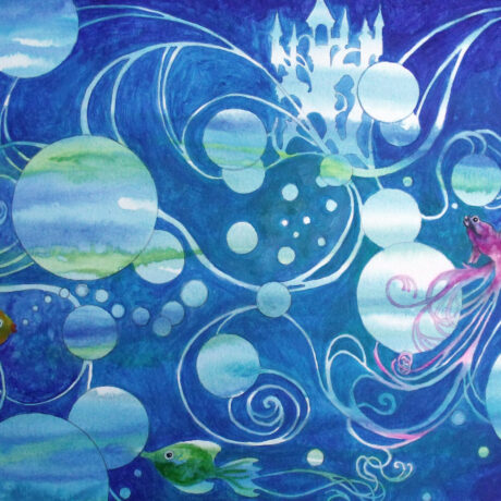 """Underwater Fantasy"" - 2015 - Watercolour on paper - 40x50cm - Mounted and Framed - For Sale - £120"