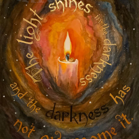 """""""The Light Shines in the Darkness"""" - Watercolour and gold leaf on paper - 40x27.5cm - Framed (51x41cm) - For Sale - £120 (painting only  - £180 (framed)"""