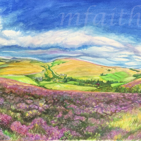 """""""Lower Cabrach View, from Lone Tree"""" - 59x35cm - Watercolour on Paper - For Sale - £190"""